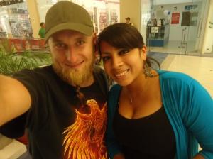 photo with a friendly stranger in Piura, Peru