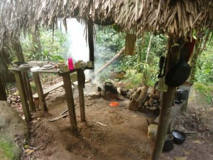 Kitchen at rescue center Cerelias, Peru