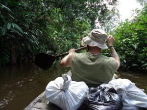 canoe in peruvian amazon jungle