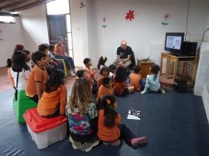 teaching kids in pachacamac peru